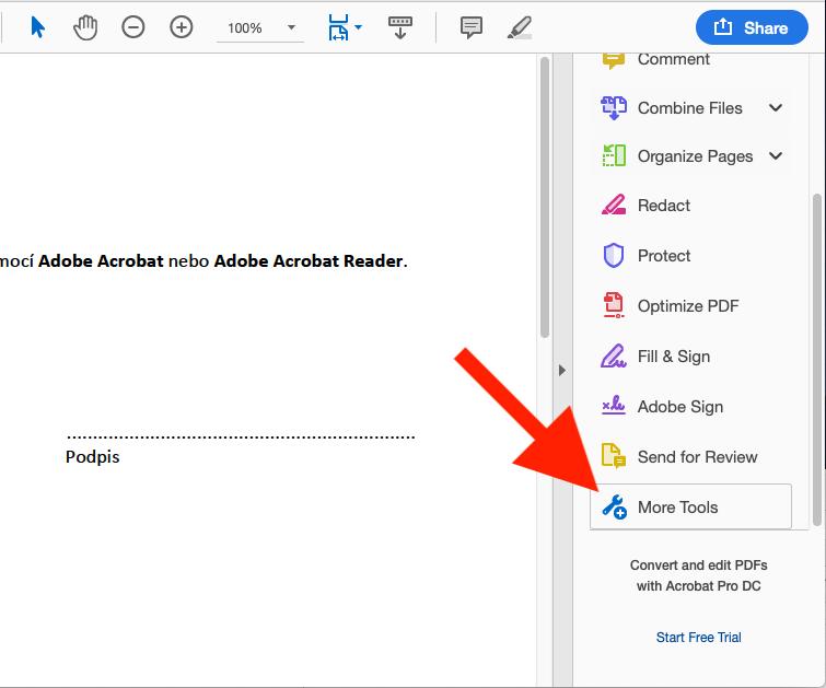 Digitální podpis PDF dokumentu Adobe Acrobat